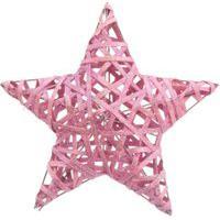 Estrela Decoraçáo Natal 30Cm Cor Rosa 1 Unidade Plástico