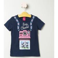 "Blusa Minnie® ""Say Cheese!"" - Azul Marinho & Rosa Clarodisney"