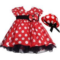 Vestido Infantil Minnie Vermelho Com Chapéu - Tam 1-3