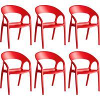 Conjunto Com 6 Cadeiras De Plástico Glass Vermelho
