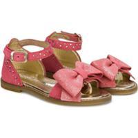 Monnalisa Sandália Com Laço E Glitter - Rosa