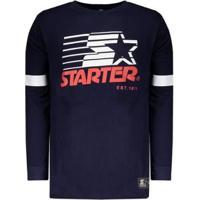 Camiseta Starter Star Manga Longa Masculina - Masculino-Azul