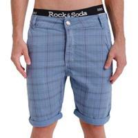 Bermuda Rock & Soda Masculina Sarja Xadrez Com Bolsos Casual - Masculino