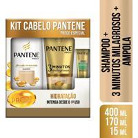 Pantene Kit Shampoo Hidratação + Condicionador 3 Minutos Milagrosos Hidratação + Âmpola Restauração Grátis 1 Unidade