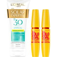 Kit 2 Máscaras De Cílios The Colossal Super Filme + Protetor Solar L'Oréal Paris Fps30 200Ml - Feminino
