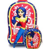 Kit 2 Pçs Max Toy Mochila De Rodinhas Superhero Girls Azul/Vermelho