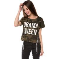Blusa T-Shirt Camuflada Drama Queen Faixa Nice Pop Me Feminina - Feminino