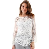 Blusa Aha Manga Longa Crochet Rendado Margarida Off- White