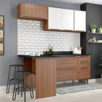 Cozinha Compacta Calábria Bancada, Aéreo E Balcão Nogueira/ Branco