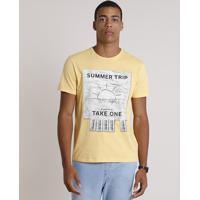 "Camiseta Masculina ""Summer Trip"" Manga Curta Gola Careca Amarela"