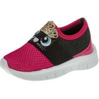 Tênis Jogging Joys Shoes Calce Fácil Enfeite Rosa/Preto