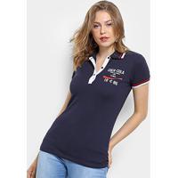 Camisa Polo Coca-Cola Frisos Feminina - Feminino-Azul