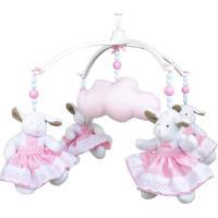 Móbile Musical Ovelha Rosa E Nuvem Quarto Bebê Infantil Menina Potinho De Mel