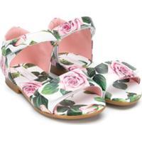 Dolce & Gabbana Kids Sandália Com Velcro E Estampa De Rosa - Branco