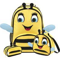 Kit 3 Abelha Mumagi Mochila Escolar + Lancheira + Estojo Amarelo