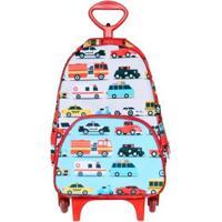 Mochila Escolar Infantil Ó Design Com Rodinhas Carros Masculina - Masculino-Vermelho