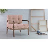 Poltrona Para Recepção Estofada Rosa Canela Flocos - Verniz Capuccino Tec.169B Rosa 69X71X79 Cm