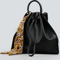 Bolsa Saco Com Lenço Estampado Floral Preta - Único