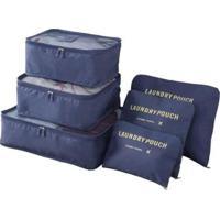 Kit 6 Sacos Bolsas Organizador Mala Roupas Bagagem Viagem 2 - Unissex-Azul