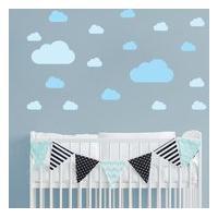 Adesivo De Parede Infantil Quartinhos Nuvens Azul