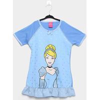 Camisola Infantil Disney Princesas Manga Curta - Feminino-Azul
