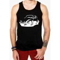 Camiseta Regata Criativa Urbana Fusca Carro Antigo Clássico - Masculino-Preto