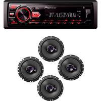 Radio Mp3 Player Bluetooth Usb Aux E 2 Pares Auto Falante Triaxial 6 Polegadas 100W Rms Pioneer Mvh298Bt