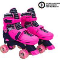 Patins Roller Infantil 4 Rodas Paralelas Rosa Com Luz De Led Ajustável De Menina - Unik Toys Multicolorido