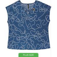 Blusa Com Decote V E Ilhós Azul