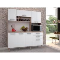 Cozinha Compacta Esmeralda 8 Portas Nogal/Branco - Lc Mòveis