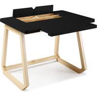 Mesa Para Escritório - Escrivaninha De Madeira Maciça Preta Hush 94X77X73,5Cm - Taeda E Cor Preta