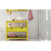 Bancada Pia 2 Gavetas Aquiles - Gabinete De Banheiro Madeira Cor Amarelo - 83X39X75 Cm