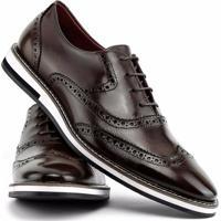 34f3978717 ... Sapato Social Gofer Com Cadarço Solado De Couro Masculino - Masculino- Marrom