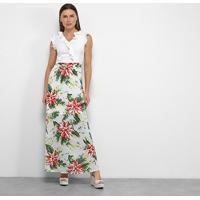 Vestido Longo Allexia Babado Tropical - Feminino-Branco