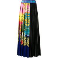 Versace Jeans Couture Saia Midi Com Pregas E Estampa Tropical - Azul