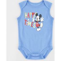 Body Infantil Mickey Sem Manga Gola Careca Azul