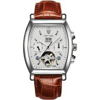 Relógio Tevise 8383B Masculino Automático Pulseira Couro Marrom - Branco