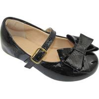 Sapato Boneca Em Couro Com Laã§O- Pretaprints Kids