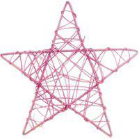 Estrela Rattan Decoraçáo Natal 30X30 Cm Cor Rosa Plástico