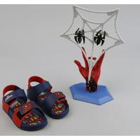 Sandália Papete Infantil Grendene Homem Aranha Vem Com Spider Jump Azul Marinho