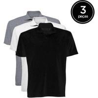 Kit De 3 Camisas Polo Masculinas De Várias Cores P