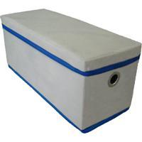 Caixa Organizadora Com Tampa E Ilhós 14X15X38Cm Organibox Bege/Azul