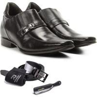 Sapato Social Rafarillo Com Cinto Meia E Calçadeira Kit 4 Em 1 - Masculino-Preto