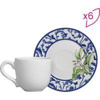Conjunto De Xícaras De Café Arabesco- Branco & Azul Escuscalla Cerâmica
