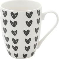 Caneca De Porcelana Cute Hearts- Branca & Preta- 350Urban