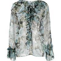 P.A.R.O.S.H. Blusa Translúcida Com Estampa Floral - Azul