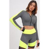 Blusa Cropped Mescla- Cinza Escuro & Amarelo Neon- Ppatra