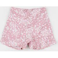 Short Saia Infantil Estampada Floral Rosa