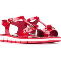 Dolce & Gabbana Kids Sandália Abertura Frontal Com Aplicação - Vermelho