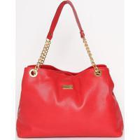 Bolsa Em Couro Com Tag- Vermelha- 27X37X15Cm- Ananette